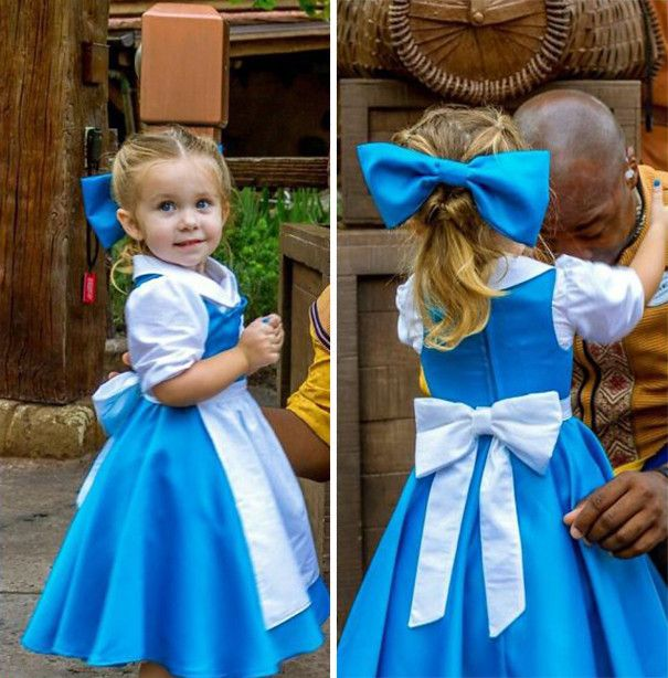 Crafty mom, Jennifer Rouch, has a passion and talent for creative costume-making made with materials sourced from thrift shops. Jennifer, who is a self-avowed Disney fan, apparently bought annual passes as she wanted to help her little girl conquer her shyness, and now takes her there every week together with her husband, Chad.