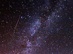 The Perseids ( /ˈpɜrsiːɨdz/) are a prolific meteor shower associated with the comet Swift-Tuttle.