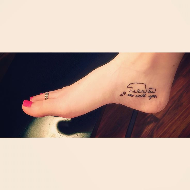 My inside foot tattoo of two little bears with my grandfathers handwriting