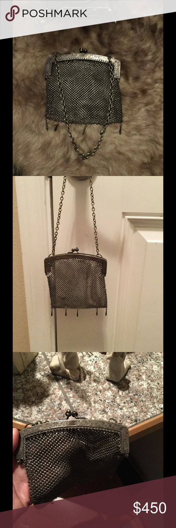 Antique sterling silver purse 🎈price drop 🎈 Antique German sterling silver mesh purse. Why not own a piece of antique history and be stylish at the same time. One area of the purse needs to be fixed. The little loops needs to be lined up and put in hole. To me looks like an easy fix. The bag is still functional even with this fix. I just don't want to fix it because I don't want to do more damage. I found a range of prices on this bag. My price is pretty reasonable. I will take reasonable…
