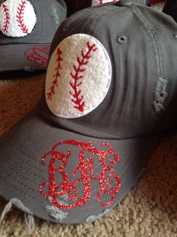 Baseball mom hat with monogram by GinasGems2010 on Etsy
