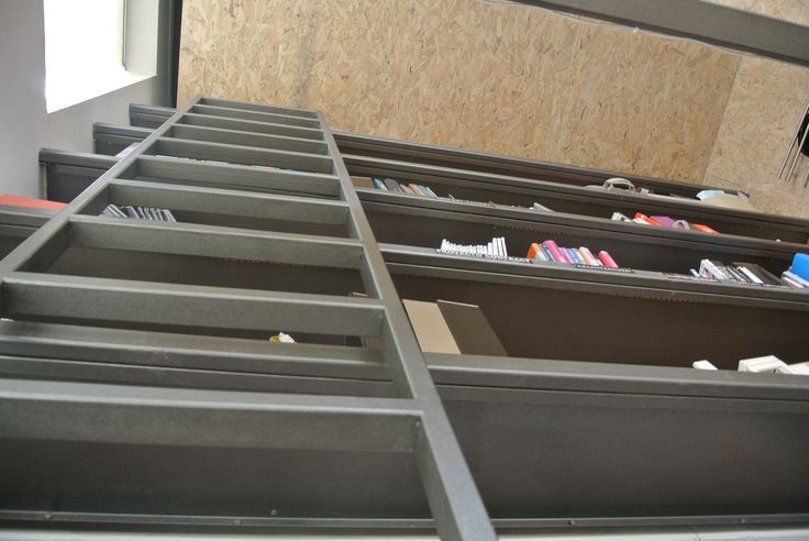 mobile ladder leading to mezzanine
