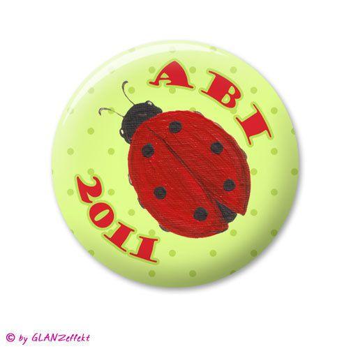 Button ♥ Abi + Jahr ♥ mit Glückskäfer ♥ von KUNSTgedrucktes vom Atelier GLANZeffekt auf DaWanda.com