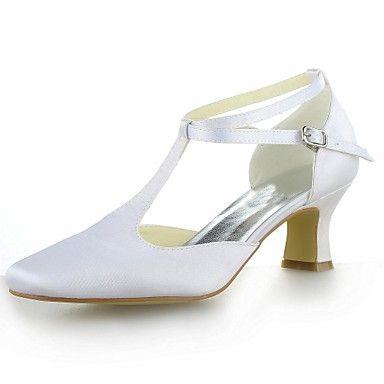 Bruiloft Schoenen - Zwart / Blauw / Geel / Roze / Paars / Rood / Ivoor / Wit / Zilver / Champagne - Huwelijk - Vierkante neus / T-band - – EUR € 28.49