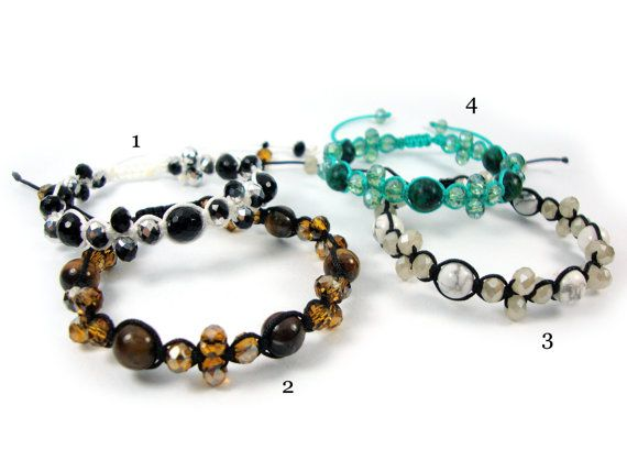 FREE SHIPPING Mixed Natural Stones Handmade Greek Adjustable Bracelet & Crystal Stones, Turquoise , Tiger Eye , Onyx , Chrysocolla on Etsy, 18,00€