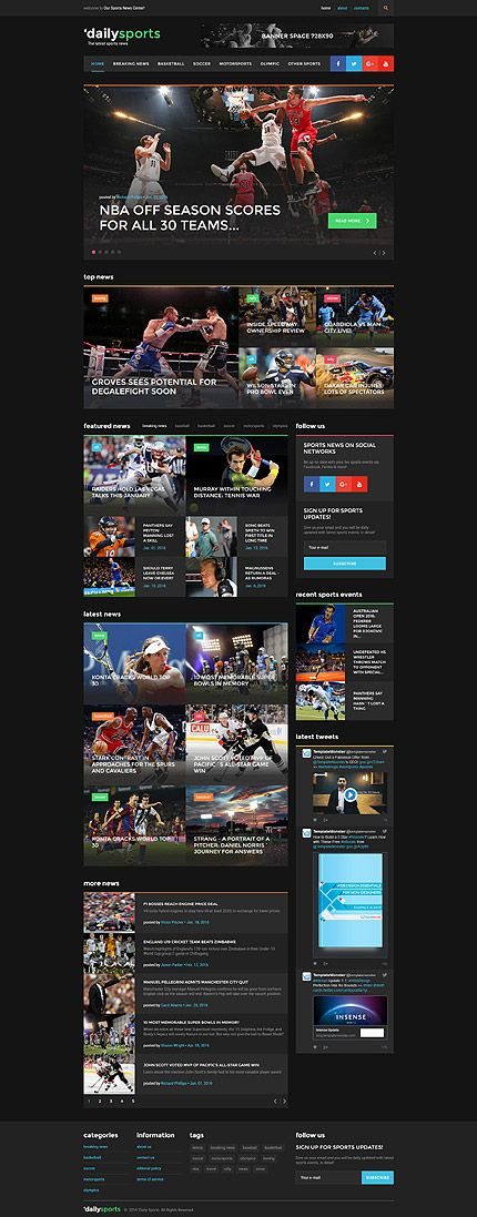 Sports Portal #website #template. #themes #business #responsive #websitethemes
