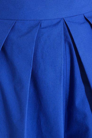 DELPOZO - Pleated Cotton-poplin Wide-leg Pants - Royal blue - FR34