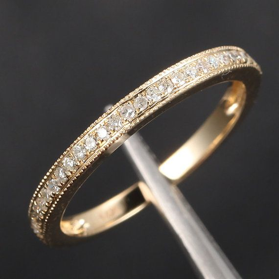 HALF Eternity Band Milgrain Pave H/SI Diamonds Band Solid 14K Yellow Gold Wedding Band, Anniversary Ring