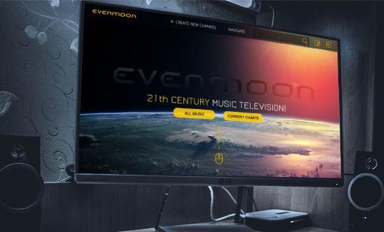 evenmoon.com - landing page dla internetowej telewizji muzycznej, umożliwiającej użytkownikom tworzenie własnych kanałów i playlist