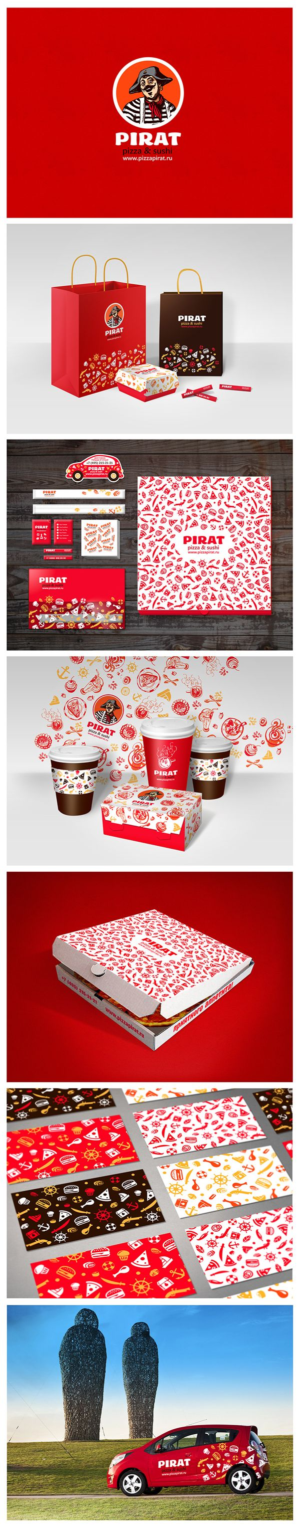 Branding, graphic design and packaging for PIRAT PIZZA on Behance by Kate Lopatina Moscow, Russian Federation PD
