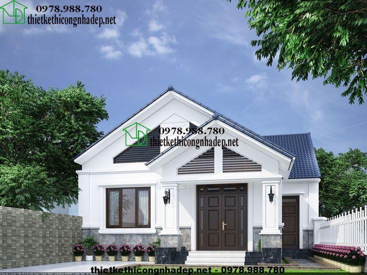 Mẫu nhà cấp 4 đẹp, thiết kế nhà cấp 4 mái thái 10x13m NDNC413