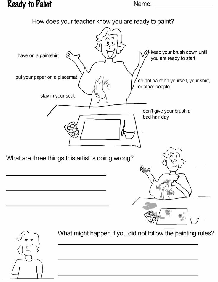 """Ready to paint! Freebie download for art class. Reinforce rules and routine for getting ready to paint! Part of the packet """"Art Rules!"""" activities for the art room."""