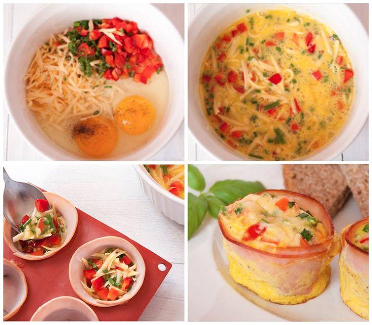 Misture dois ovos com queijo e tomate, com cebolinha e um pouquinho de pimenta à gosto. Coloque dentro do presunto, peito de peru ou bacon que está em forma circular em uma forma de cupckake. Coloque no forno