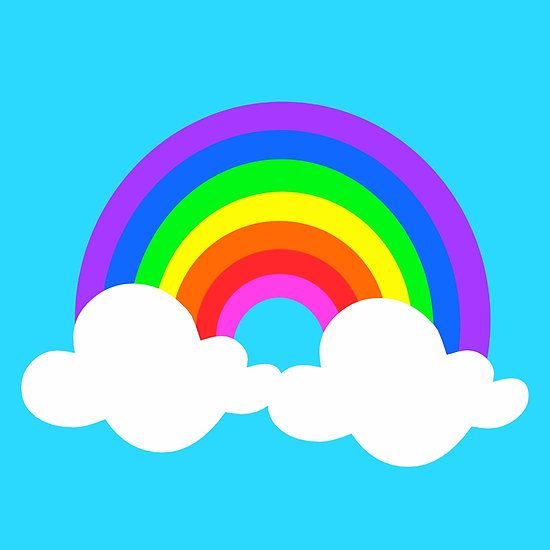 Rainbow In Puffy Clouds