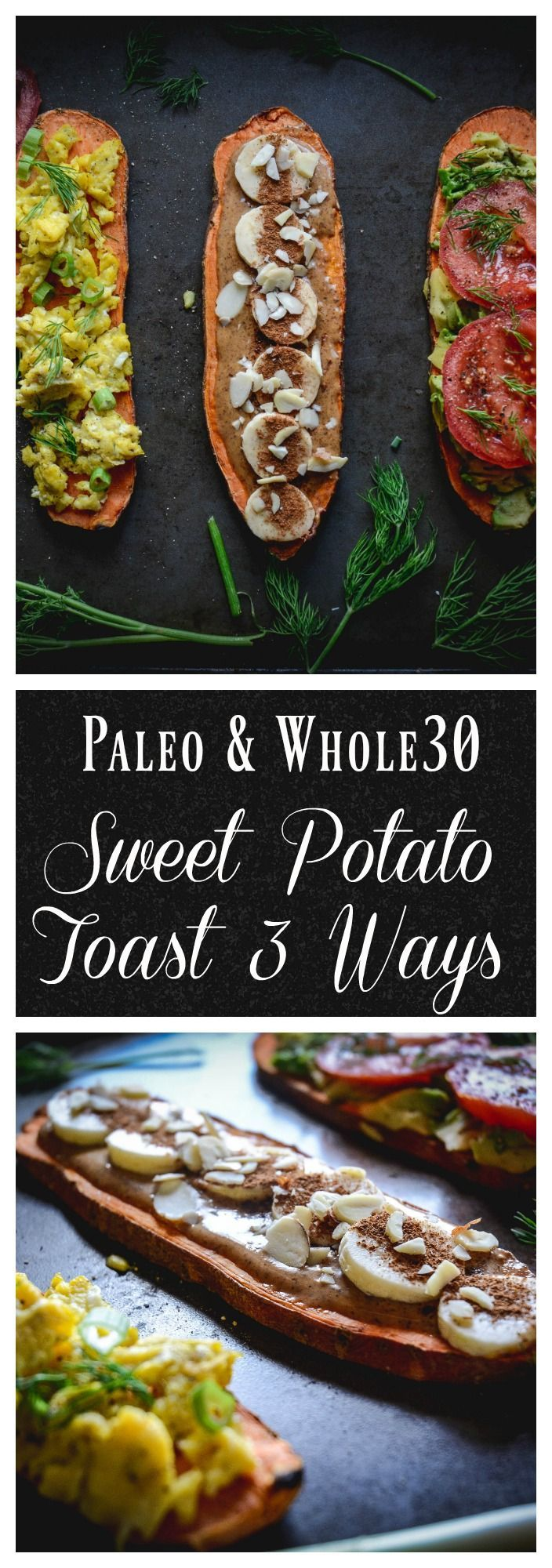 Sweet potato toast is a versatile and delicious alternative to toast. You can make them sweet or savory. Check out three ways to make sweet potato toast delicious. A paleo and whole30 breakfast. #sweetpotatotoast, #paleo, #glutenfree, #whole30, #paleobreakfast, #paleobrunch, #whole30breakfast,