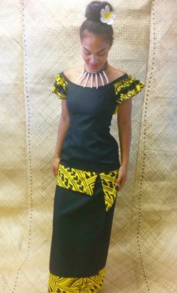 Ruffled Shoulders Black Amp Yellow Puletasi Ruffles And