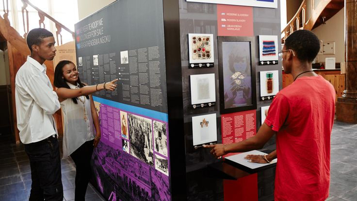 Three travelling exhibition units were constructed to educate visitors on both historical and modern slavery. The wedge-shaped installations featured written text and static images alongside an interactive counter-top with an in-built display screen.