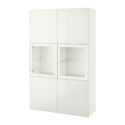 BESTÅ Storage combination w/glass doors, white, Selsviken high gloss/white clear glass white/Selsviken high gloss/white clear glass 47 1/4x15 3/4x75 5/8
