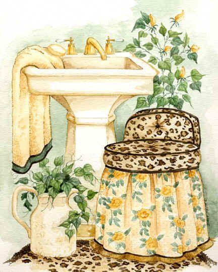 Varieté de Láminas para Decoupage: Un baño fresquito??