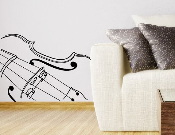 Tatuajes de pared para dormitorio Musical violín por VinylDecals2U