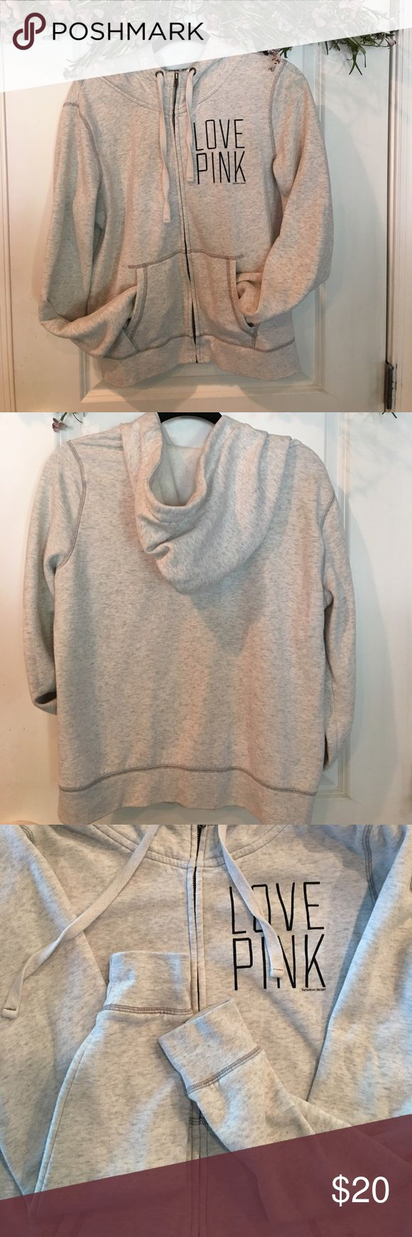 V.S. Pink Hoodie Victoria's Secret Pink Size Large grayish/cream Zip up hoodie! Good Condition. No stains. Just some little fabric balls from wearing and washing but still looks fine and would come off with fabric shaver 😃 PINK Victoria's Secret Tops Sweatshirts & Hoodies