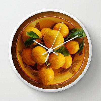 Fruit wall clock yellow lemons clock cottage by NewCreatioNZ
