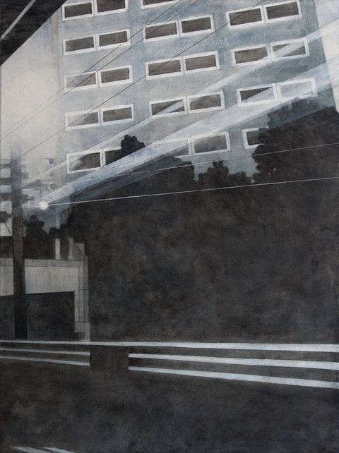 "FRANK WEBSTER  acrylic on canvas, View of an Office Building from the Train 2013, 40"" x 30"""