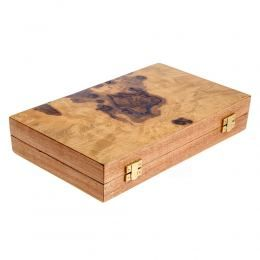 Handmade Olive Wood Backgammon Board Wooden Game Set, Slots Storage, Medium