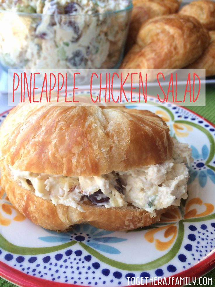 Pineapple Chicken Salad. Can be made ahead of time for a fast & easy dinner, or makes for fun picnic food. So good on croissant rolls!
