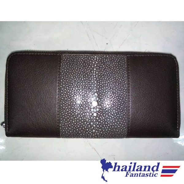 Brown Premium Clutch Wallet Genuine Stingray Leather Skin Bag Purse Zip #Handmade #Trifold