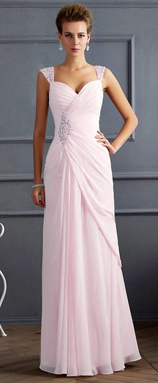 Charming Chiffon & Stretch Satin Sweetheart Neckline Floor-length Sheath Evening Dresses