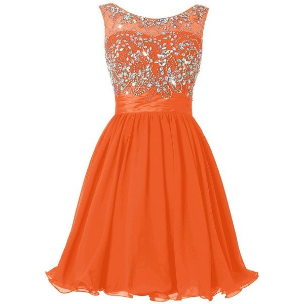 Wedtrend Women's Beading Short Homecoming Dress Prom Gown (89 CAD) ❤ liked on Polyvore featuring dresses, gowns, prom gowns, orange dress, beaded dress, orange homecoming dresses and short beaded dress