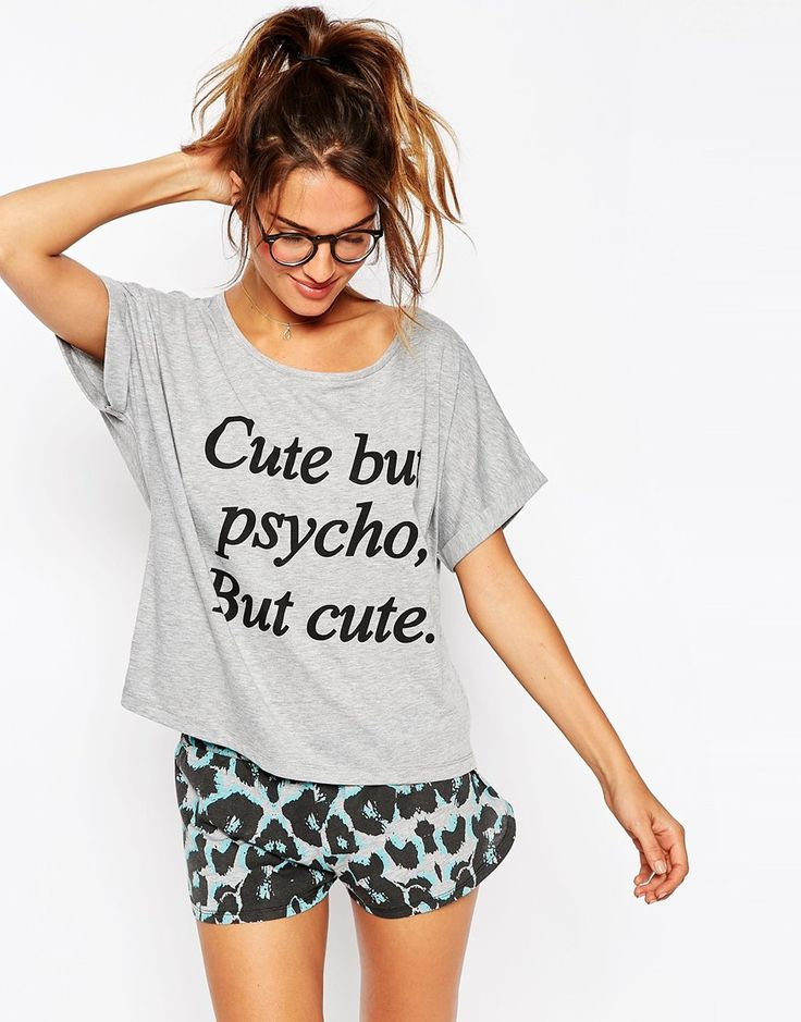 Grey Blue ASOS Cute But Psycho, But Cute Tee & Shorts Pyjama Set