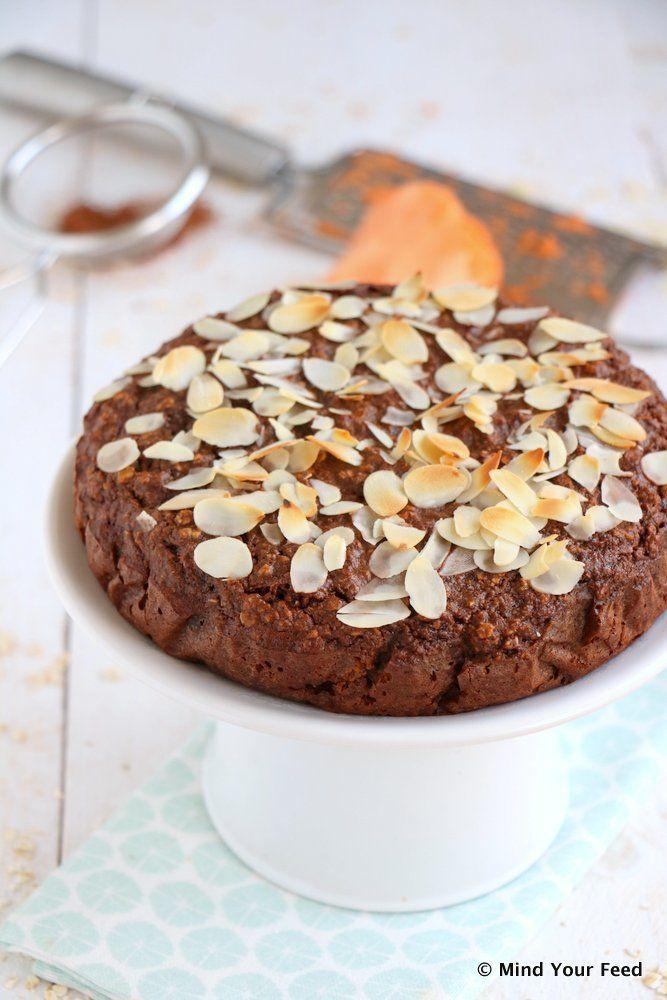 Zoete aardappel chocolade taart - Mind Your Feed #sweetpotato #chocolate