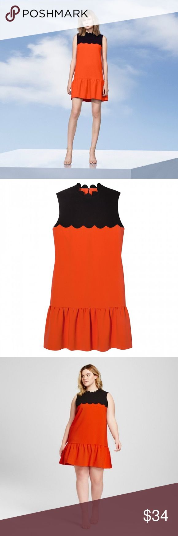 VICTORIA BECKHAM NWT Orange/Black Scallop Dress XL Victoria Beckham for Target orange and black dress with scallop detailing. Perfect dress to transition from day to evening and from work week to weekend brunch. New with tags. Size XL Victoria Beckham for Target Dresses