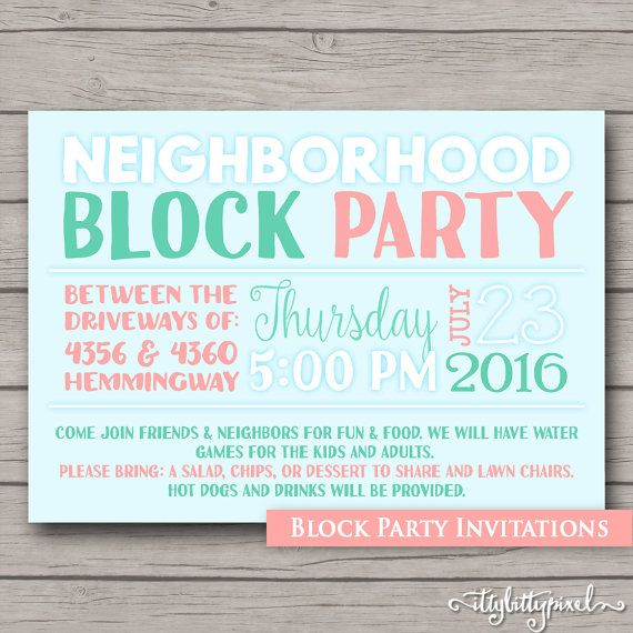 Block party invites Pinterest 25 – Block Party Invites