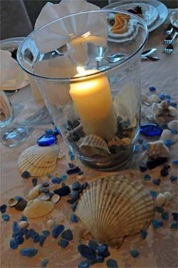 Beach Themed Wedding Centerpieces Hurrican Vase Picture