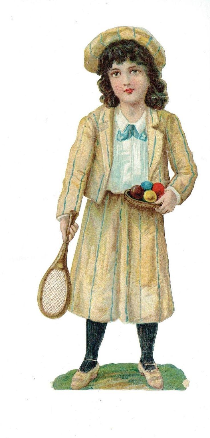 Un chromo - Découpis  - Enfant avec raquette et balles  - 25 cm fr.picclick.com