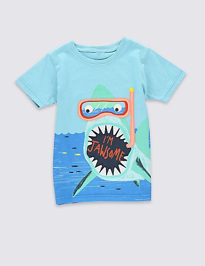 Pure Cotton Shark Print T-Shirt (1-7 Years) | M&S
