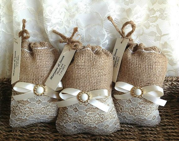 lace covered burlap Personalised favor bags wedding engagement bridal shower