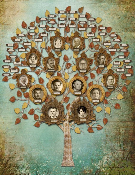 Family Tree Art  Custom Five Generation with por CreativeFamilyTree