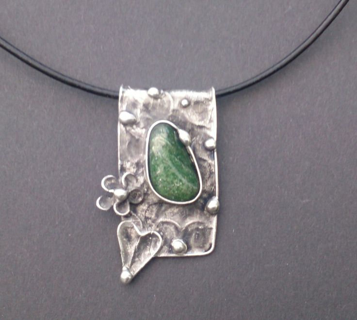 Metal necklace with aventurine . Necklace is handmade.Tiffany technique, Healing Stone, jewellery by Helenamode on Etsy