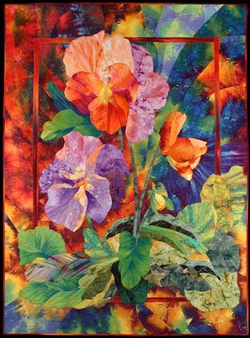 Flower art quilt by Charlotte Hickman   SAQA