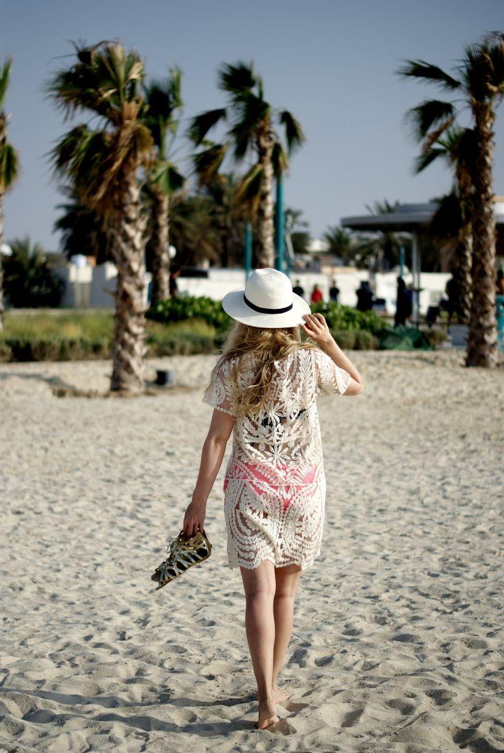 Lace beach dress & fedora hat