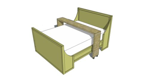 Free Woodworking Plans to Build a Queen Rolling Bed Board Table....If I had the luxury of spending time in bed...maybe after I'm retired?