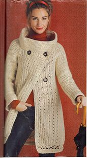 ♥ Ravelry: Stylish Sweater Coat pattern by Mari Lynn Patrick - Chunky white/beige doublebreasted crochet cardigan/coat w/ funnel-neck