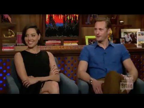 Aubrey Plaza and Alexander Skarsgard in Watch What Happens Live