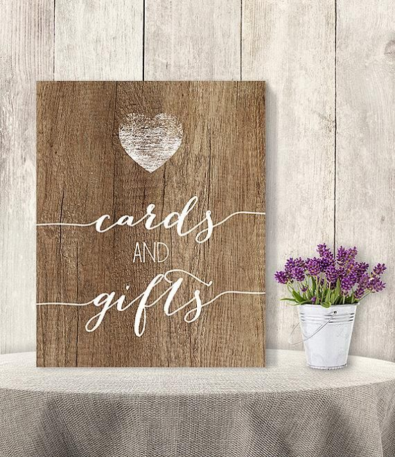 Cards And Gifts / Wedding Gift Table Sign DIY, Presents/ Rustic Wood Sign, White Calligraphy