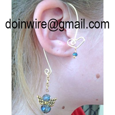 doinWire-DOW246 Ear Wrap, gold tone craft wire, top heart with smokey blue crystal and bottom gold tone aluminium chain, with smokey blue crystals and gold tone angel wing charm.