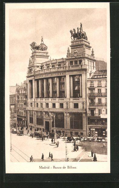 stare pocztówki: AK Madrid, Banco de Bilbao, Bankansicht